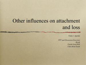 Other influences on attachment and loss Today's Agenda PPT and Discussion Exercises