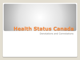 Health Status Canada Denotations and Connotations