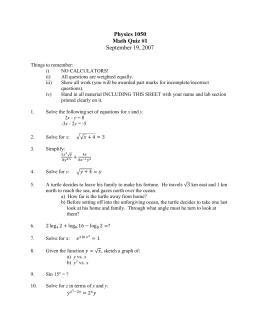 Physics 1050 Math Quiz #1 September 19, 2007
