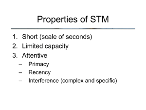 Properties of STM 1. Short (scale of seconds) 2. Limited capacity 3. Attentive