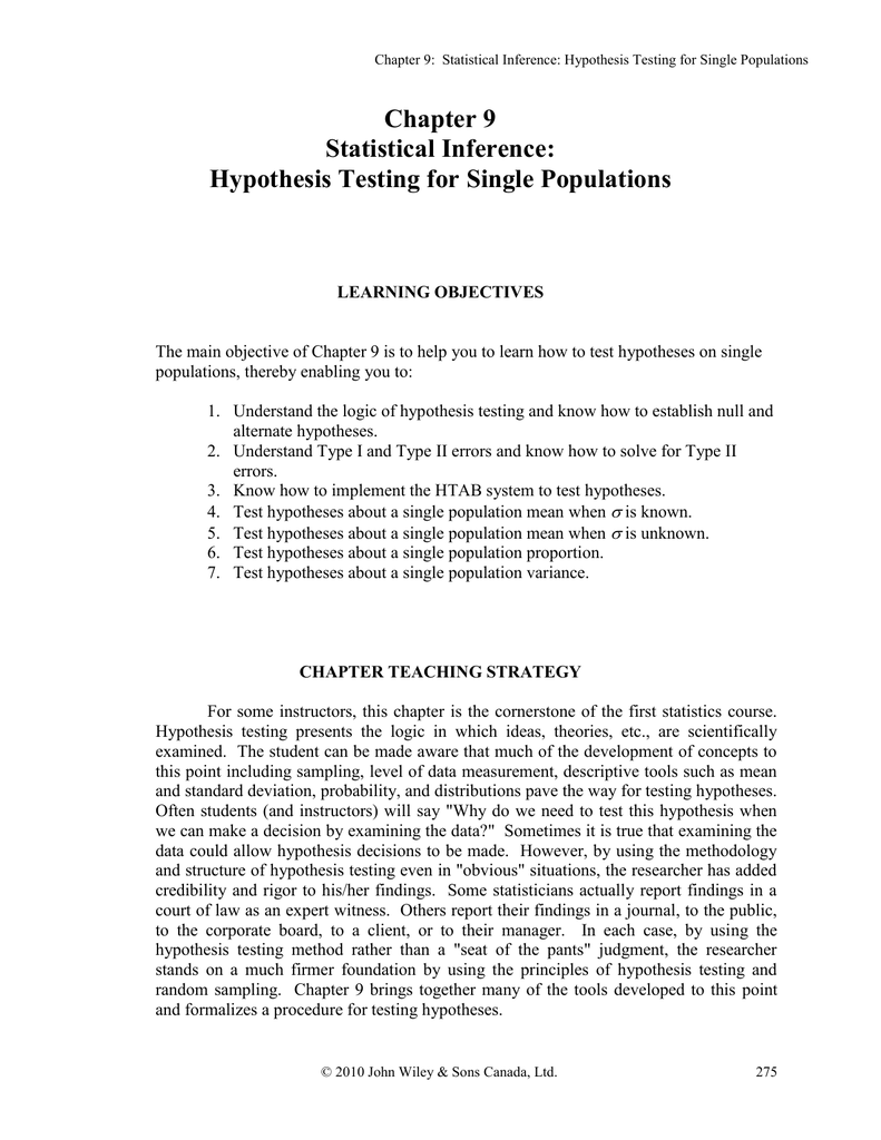 Chapter 9 Statistical Inference: Hypothesis Testing for Single