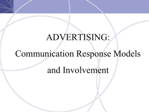 ADVERTISING: Communication Response Models and Involvement
