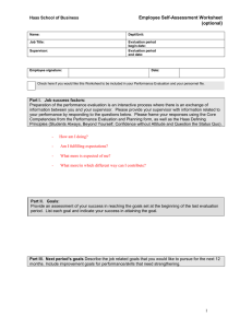 ) Employee Self-Assessment Worksheet (optional Haas School of Business