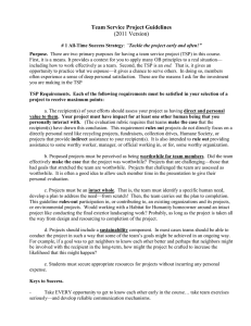 Team Service Project Guidelines (2011 Version)