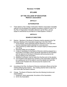 Revision 11/15/00  BYLAWS OF THE COLLEGE OF EDUCATION
