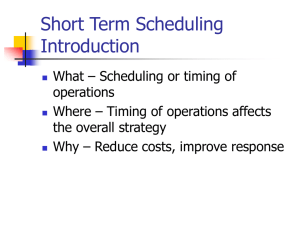 Short Term Scheduling Introduction