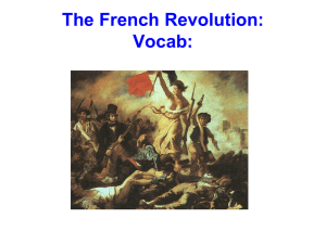 The French Revolution: Vocab: