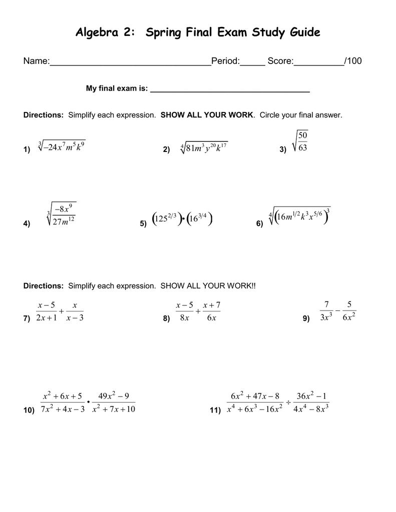 Algebra 2: Spring Final Exam Study Guide