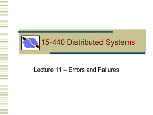 15-440 Distributed Systems – Errors and Failures Lecture 11
