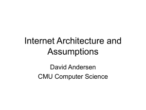 Internet Architecture and Assumptions David Andersen CMU Computer Science