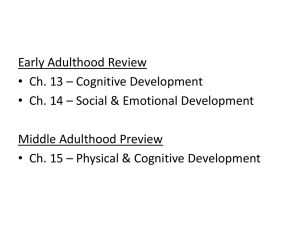 Early Adulthood Review • Ch. 13 – Cognitive Development Middle Adulthood Preview