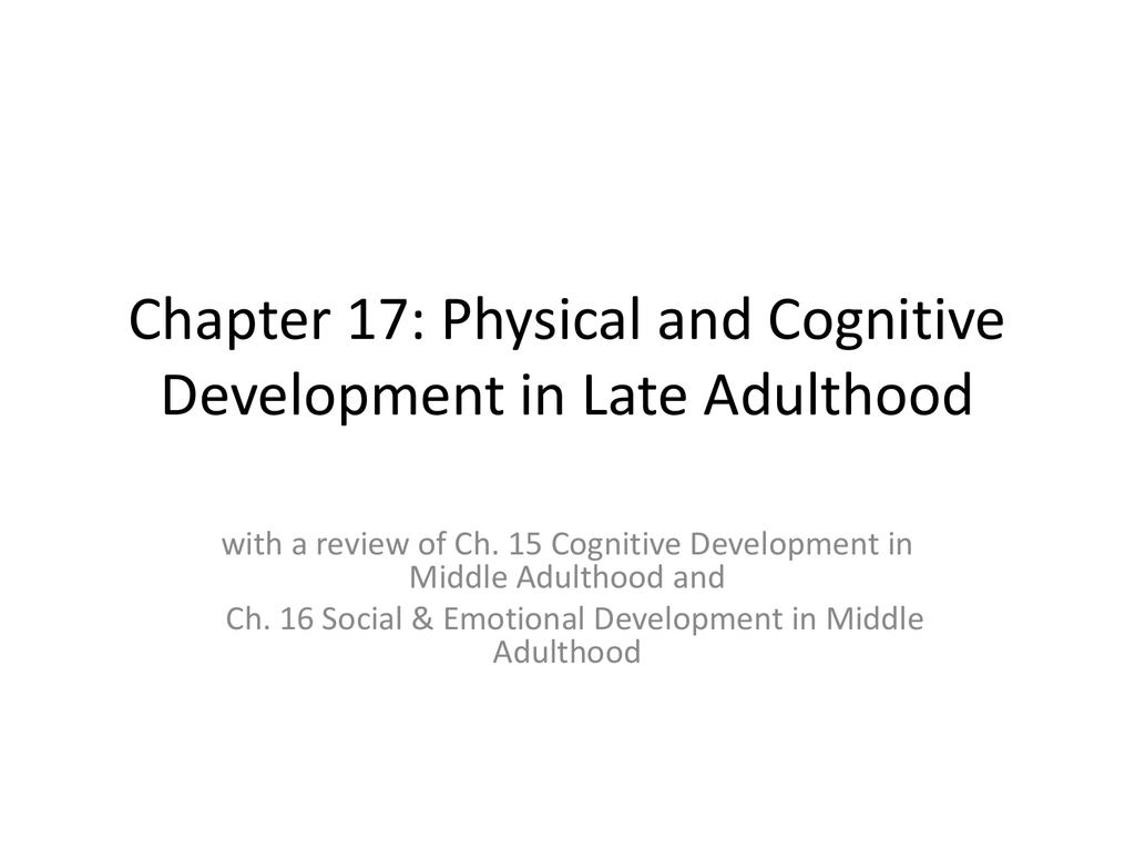 socioemotional development in late adulthood