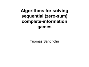 Algorithms for solving sequential (zero-sum) complete-information games