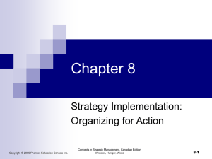 Chapter 8 Strategy Implementation: Organizing for Action 8-1
