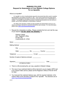 WABASH COLLEGE Request for Notarization of Your Wabash College Diploma