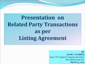 Presentation  on Related Party Transactions as per Listing Agreement
