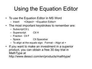 Using the Equation Editor