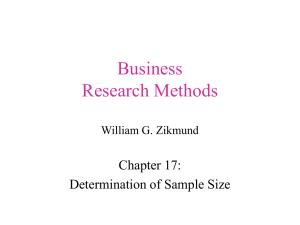 Business Research Methods Chapter 17: Determination of Sample Size