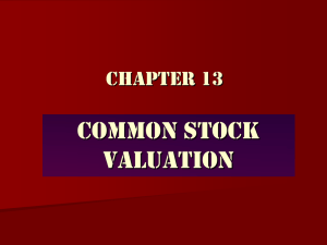 Common Stock Valuation Chapter 13