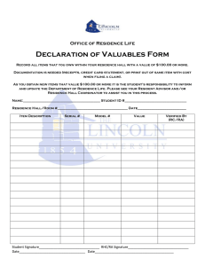 Declaration of Valuables Form Office of Residence Life