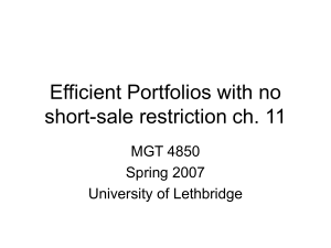 Efficient Portfolios with no short-sale restriction ch. 11 MGT 4850 Spring 2007