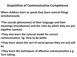 Acquisition of Communicative Competence