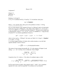 Physics 2130 Assignment 3  Chapter 14