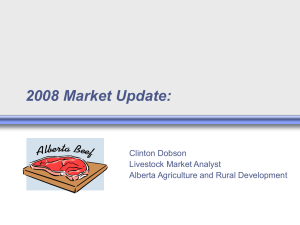 2008 Market Update: Clinton Dobson Livestock Market Analyst Alberta Agriculture and Rural Development