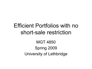 Efficient Portfolios with no short-sale restriction MGT 4850 Spring 2009