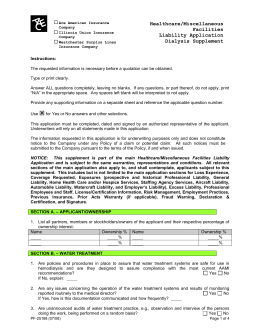 Healthcare/Miscellaneous Facilities Liability Application