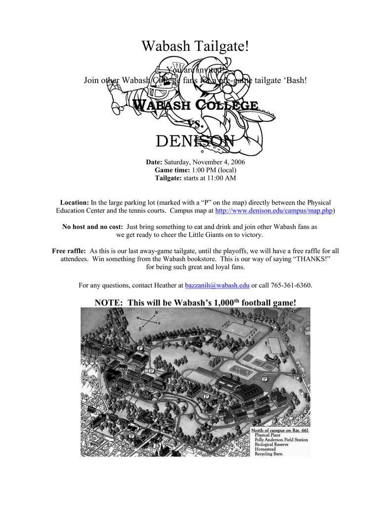 Wabash College Campus Map.Denison Wabash Tailgate W C