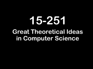 15-251 Great Theoretical Ideas in Computer Science