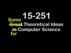 15-251 Great Theoretical Ideas in Computer Science Some