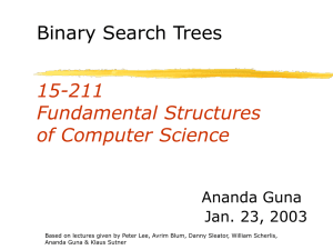 15-211 Fundamental Structures of Computer Science Binary Search Trees