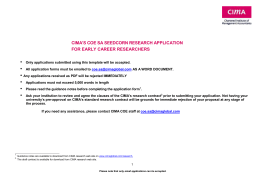 CIMA'S COE SA SEEDCORN RESEARCH APPLICATION FOR EARLY CAREER RESEARCHERS