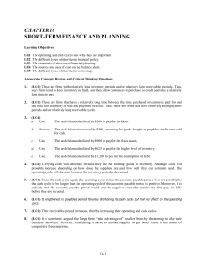 CHAPTER18 SHORT-TERM FINANCE AND PLANNING