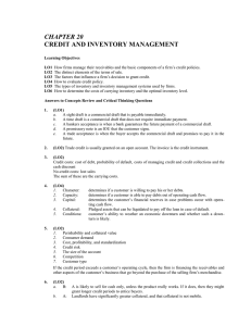 CHAPTER 20 CREDIT AND INVENTORY MANAGEMENT