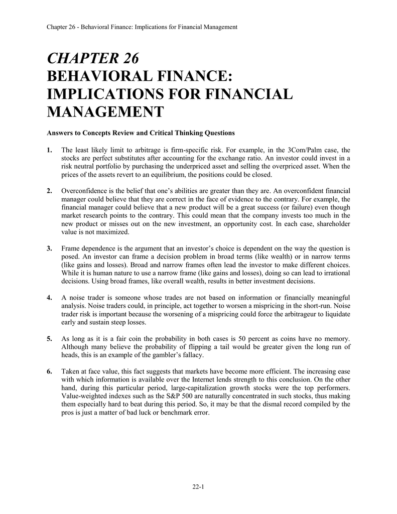 CHAPTER 26 BEHAVIORAL FINANCE: IMPLICATIONS FOR FINANCIAL