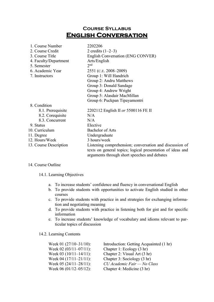 English Conversation Course Syllabus