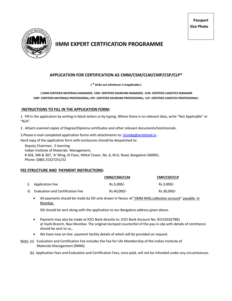 Iimm Expert Certfication Programme Application For Certification As