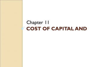 COST OF CAPITAL AND Chapter 11