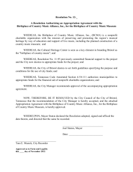 Resolution No. 12-_  A Resolution Authorizing an Appropriation Agreement with the