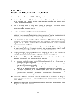 CHAPTER 19 CASH AND LIQUIDITY MANAGEMENT