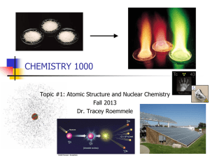 CHEMISTRY 1000 Topic #1: Atomic Structure and Nuclear Chemistry Fall 2013