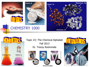CHEMISTRY 1000 Topic #2: The Chemical Alphabet Fall 2013 Dr. Tracey Roemmele
