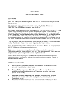 CITY OF ALCOA CONFLICT OF INTEREST POLICY DEFINITIONS: