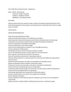 Title: Public Works Assistant Director - Engineering $3,233.38 - $5,058.77 biweekly