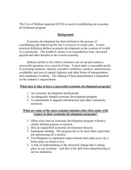 Background The City of Medina requested MTAS to assist in establishing... development program.