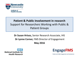 Engage FMS Patient & Public Involvement in research