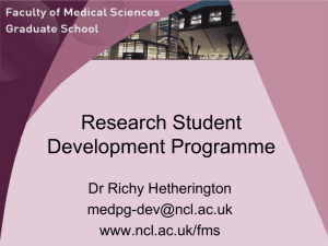 Research Student Development Programme Dr Richy Hetherington